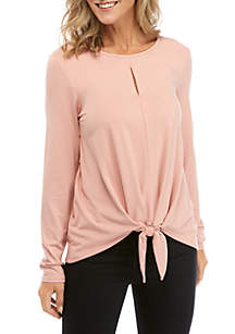 New Directions® Solid Tie Front Top