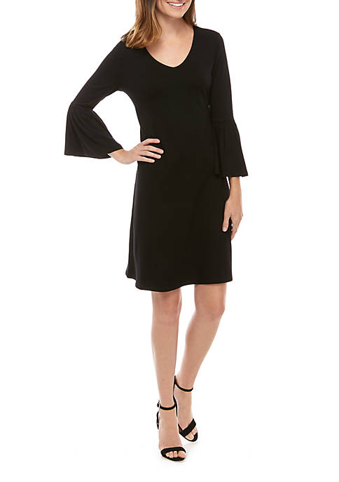 Womens 3/4 Bell Sleeve Crepe Dress