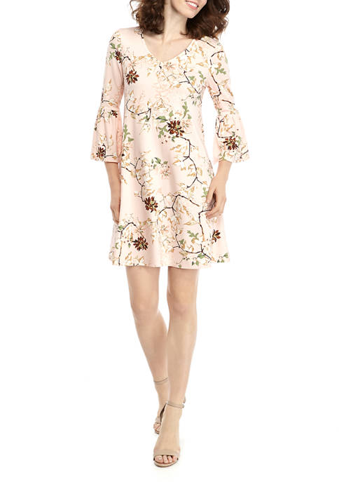 New Directions® Womens 3/4 Bell Sleeve Printed Crepe