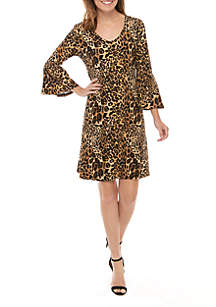 New Directions® 3/4 Bell Sleeve Printed Crepe Dress