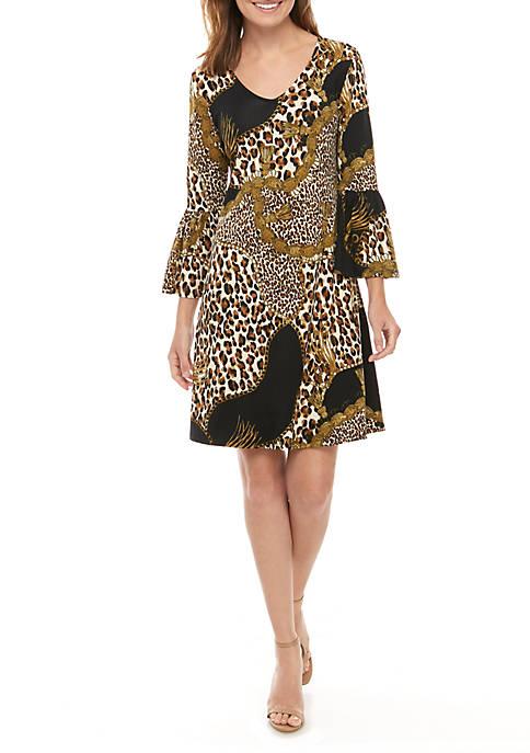 Womens 3/4 Bell Sleeve Printed Crepe Dress