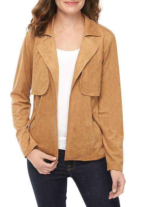 New Directions® Long Sleeve Open Front Suede Jacket