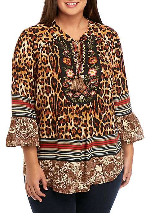 Plus Size Embroidered Peasant Top