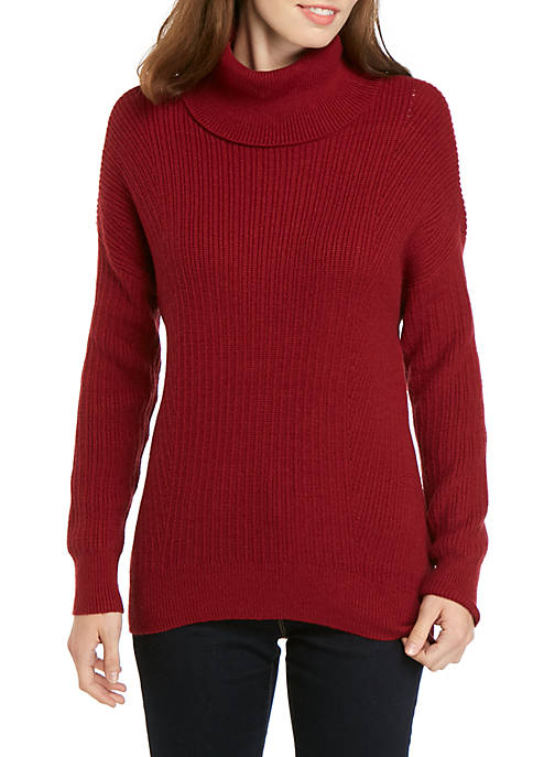 Dolman Sleeve Ribbed Turtleneck Sweater