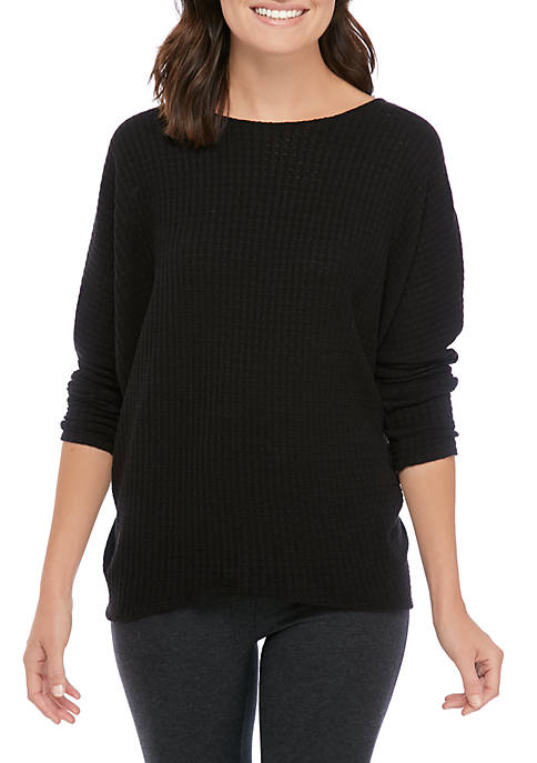 Womens Studio Dolman Waffle Knit Top