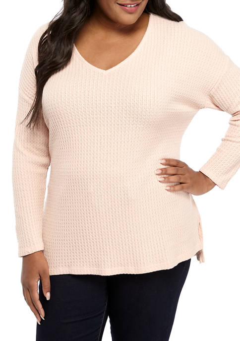 New Directions® Plus Size Waffle Knit V-Neck T-Shirt