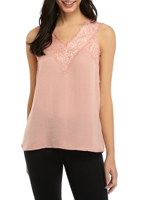 New Directions® Womens Knit Sleeveless Camisole with Lace