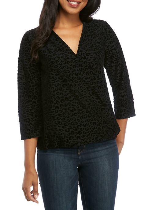 New Directions® Womens Surplice Front Blouse