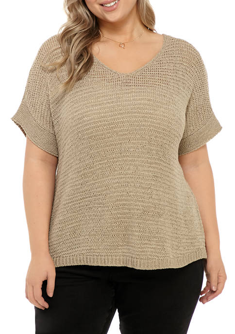 Plus Size Dolman Sleeve Yarn Sweater