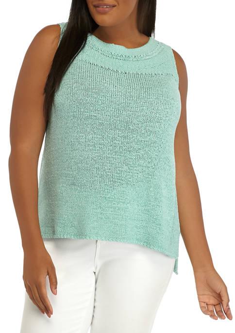 New Directions® Plus Size Sleeveless Tape Yarn Sweater