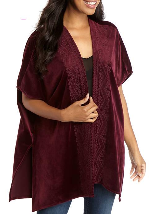Womens Velvet Kimono