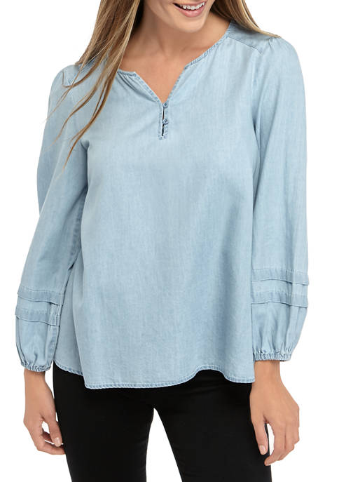 Womens Long Sleeve Peasant Blouse