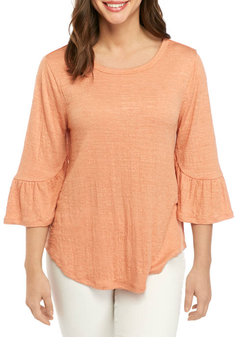 New Directions® Womens 3/4 Bell Sleeve Textured Top