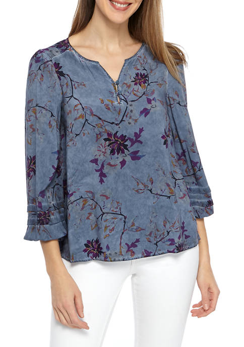 New Directions® Womens Long Sleeve Watercolor Blouse