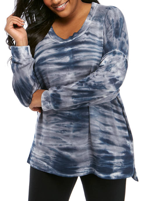 Plus Size Long Sleeve Crew Neck Tie Dye Top with Step Up Hem