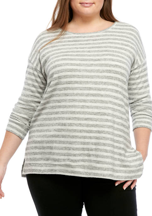 New Directions® Plus Size Long Sleeve Hacci Pullover
