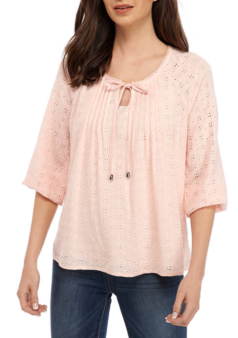 New Directions® Womens 3/4 Sleeve Eyelet Blouse