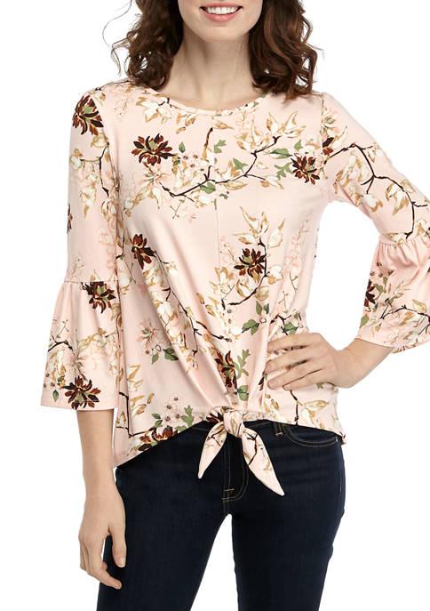 New Directions® Womens Julianna Crepe Print Bell Sleeve
