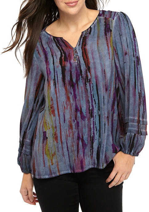 New Directions® Womens Long Sleeve Blossom Branches Top