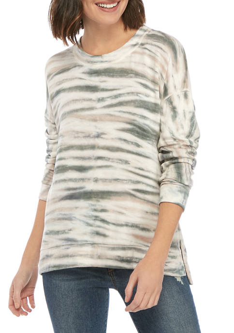New Directions® Womens Long Sleeve Tie Dye Terry