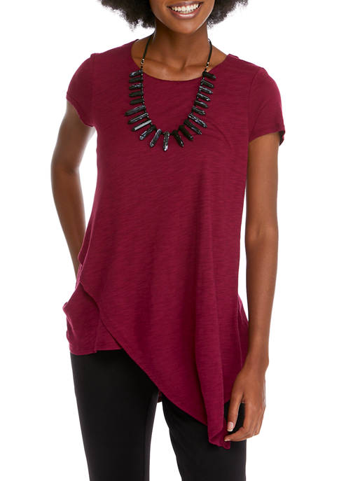 Womens Short Sleeve Knit Top with Necklace