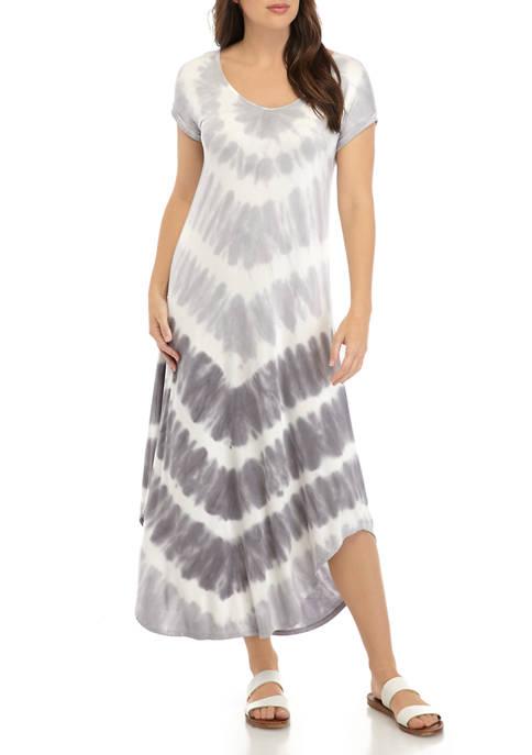 Womens Short Sleeve Tie Dye Print Dress