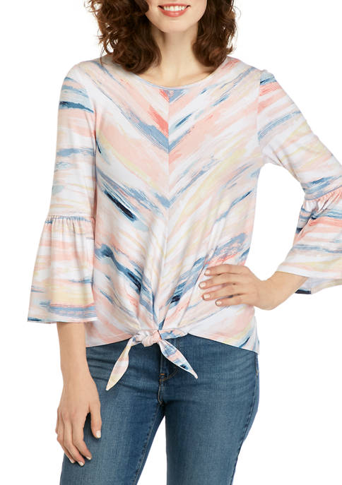 Womens Crepe Bell Sleeve Tie Front Blouse