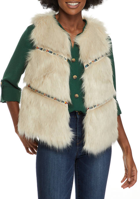 New Directions® Womens Fur Vest with Tonal Details