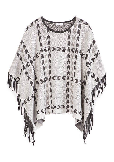 New Directions® Womens Plaid Poncho with Fringe