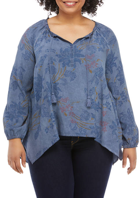 New Directions® Plus Size Floral Peasant Top