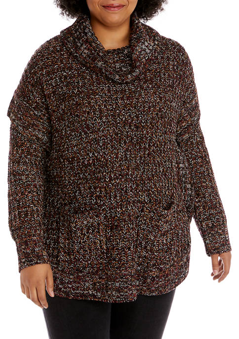 New Directions® Plus Size Round Hem Marled Tunic