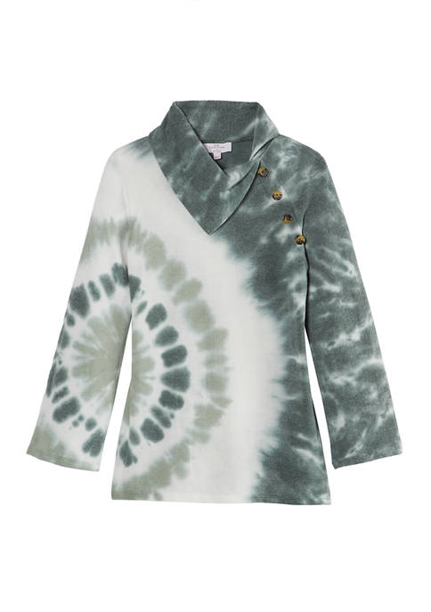 New Directions® Womens Brushed Hacci Print Sweater