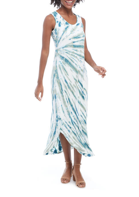 Studio Womens Sleeveless Tie Dye Round Hem Maxi Dress