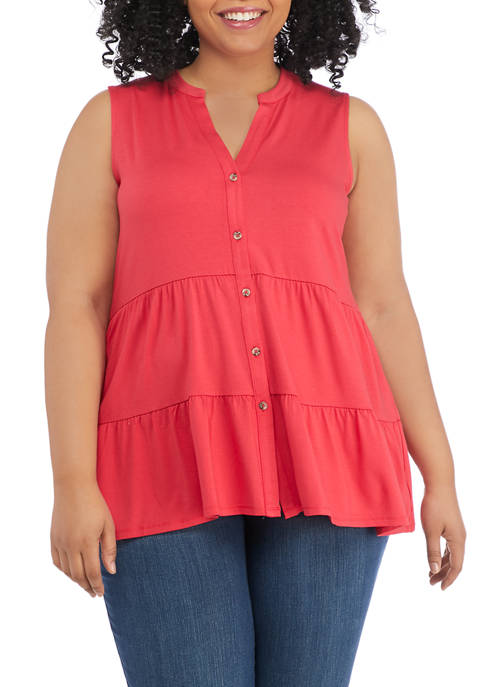 New Directions® Plus Size Sleeveless Crepe Tiered Tunic