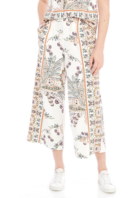 New Directions® Womens Button Front Wide Leg Printed