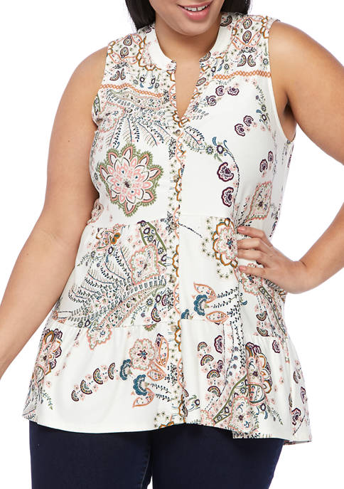 New Directions® Plus Size Sleeveless Printed Crepe Tunic