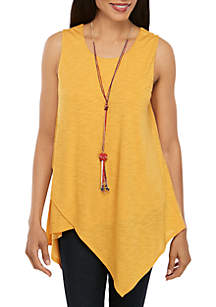 New Directions® Sleeveless Slub Asymmetrical Tunic with Necklace