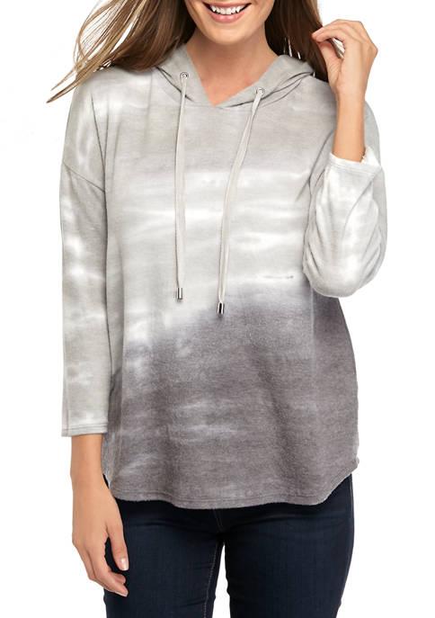 Womens 3/4 Sleeve Hacci Tie Dye Hoodie Sweatshirt
