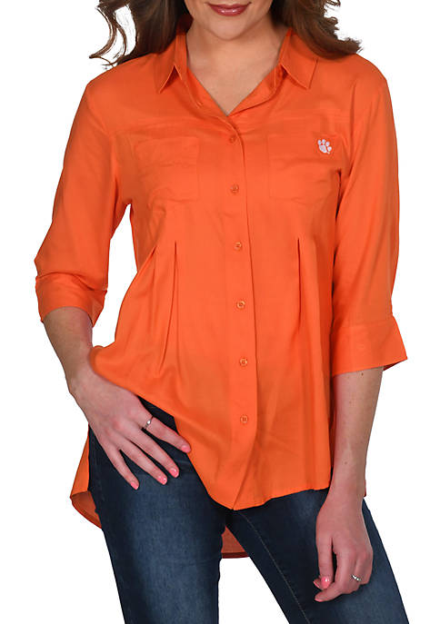 NCAA Clemson Tigers Missy Front Pleated Button Up Top