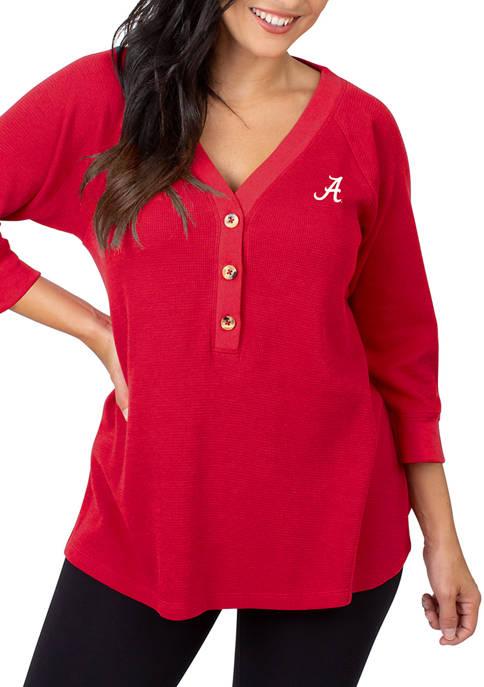 Womens NCAA Alabama Crimson Tide Waffle Henley Top