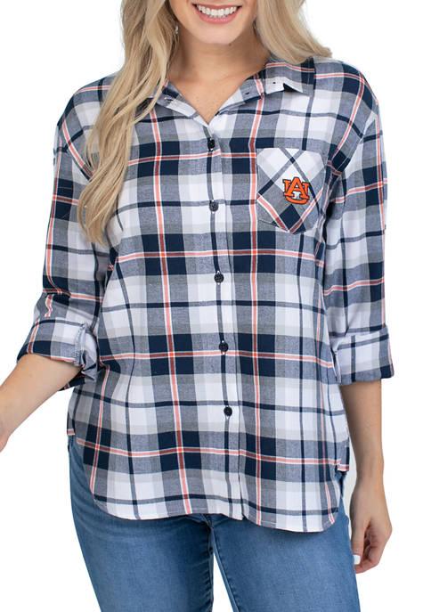 Womens NCAA Auburn Tigers Boyfriend Plaid Shirt
