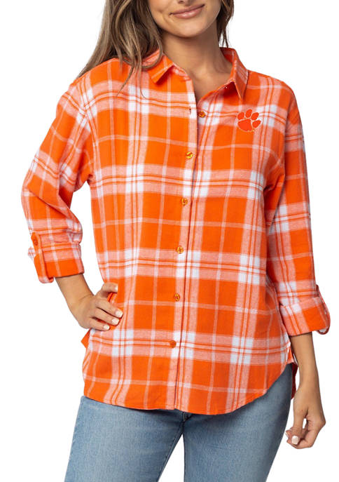 UG Apparel NCAA Clemson Tigers Boyfriend Plaid Shirt