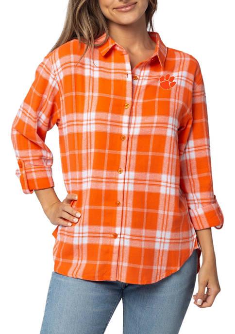 Plus Size NCAA Clemson Tigers Boyfriend Plaid Shirt