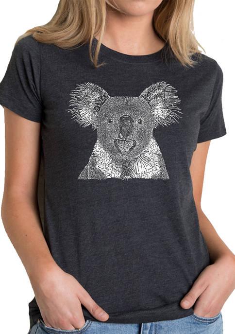 Womens Premium Blend Word Art Graphic T-Shirt - Koala