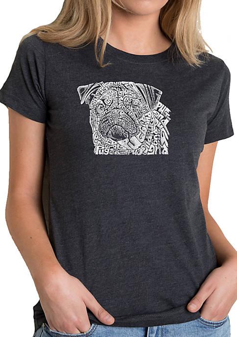 Premium Blend Word Art T-Shirt - Pug Face