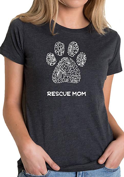 Womens Premium Blend Word Art T-shirt - Rescue Mom