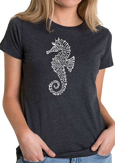 Womens Word Art T-Shirt - Types of Seahorse