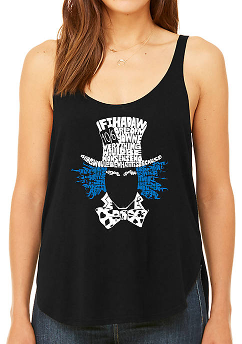 Premium Word Art Flowy Tank Top - The Mad Hatter