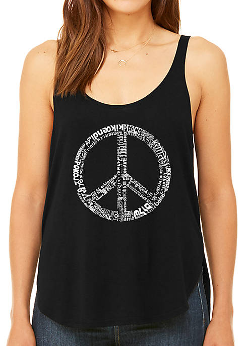Premium Word Art Flowy Tank Top - The Word Peace in 77 Languages
