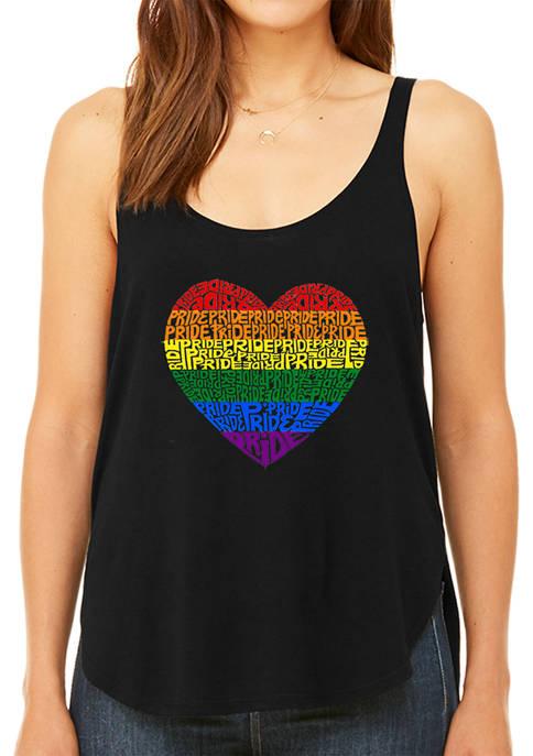 Womens Premium Word Art Flowy Graphic Tank Top - Pride Heart